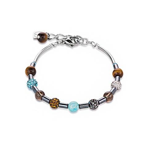 Браслет Coeur de Lion 4901/30-0611 цвет голубой, коричневый, серебряный
