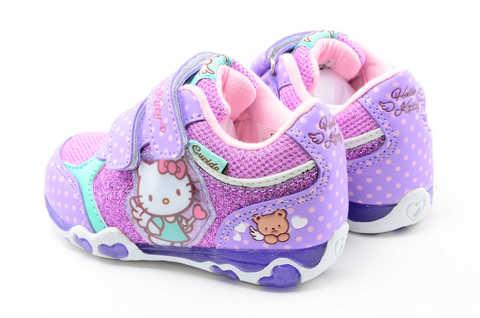 Светящиеся кроссовки для девочек Хелло Китти (Hello Kitty) на липучках, цвет сиреневый, мигает картинка сбоку. Изображение 7 из 12.