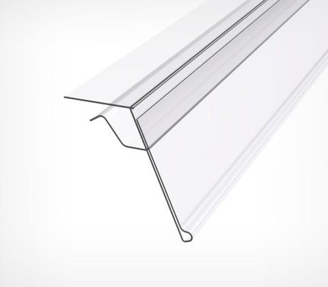 Ценникодержатель для крепления на стеклянные полки, длина 1000мм, прозрачный GLS-39