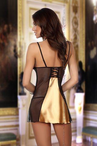 Черная с золотым сорочка Michele с кружевными вставками, в комплект идут стринги фото