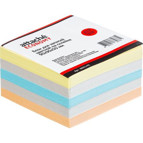 Блок-кубик ATTACHE ЭКОНОМ на склейке 9х9х5 цветной