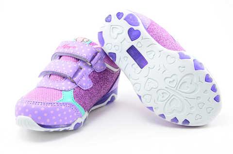 Светящиеся кроссовки для девочек Хелло Китти (Hello Kitty) на липучках, цвет сиреневый, мигает картинка сбоку. Изображение 8 из 12.