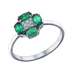 Кольцо из серебра с зелеными фианитами
