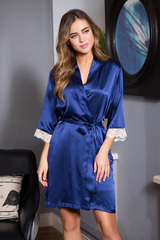 Шелковый короткий халат темно-синий