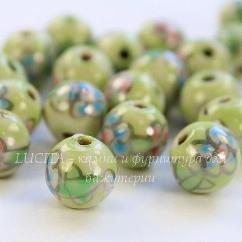 """Бусина фарфоровая ручной работы, шарик ,""""Голубой цветок на салатовом фоне"""", 10 мм"""