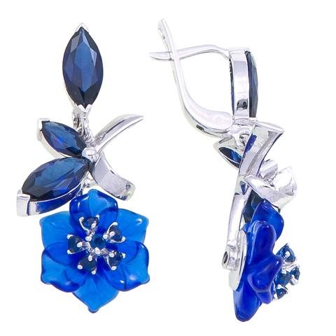 Серьги с цветами из синего кварца и сапфиром Арт.2221сс