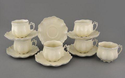 Набор чашек с блюдцами 0,20 л 6 штук Виктория Leander слоновая кость