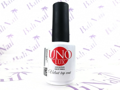 UNO, Верхнее покрытие Uno Lux Velvet Top Coat, 15мл.