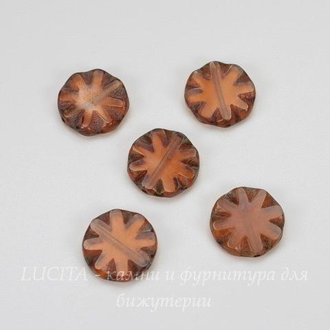 """Бусина """"Резная круглая"""" (цвет - оранжево-коричневый) 14х14 мм , 5 штук"""