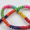 Бусина Бирюза (искусств, тониров), рондель, цвет - микс, 8х5 мм, нить
