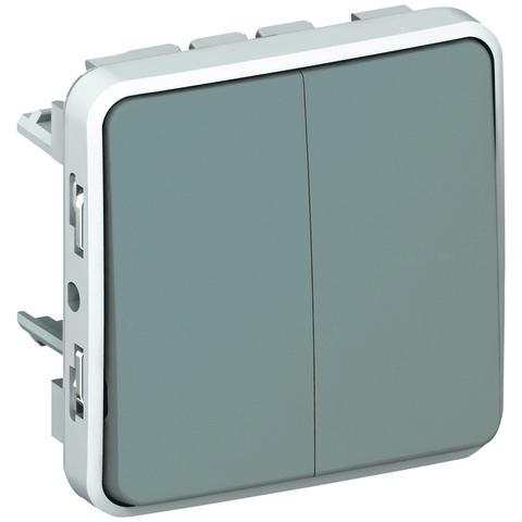 Выключатель двухклавишный проходной Двухклавишный переключатель на два направления - 10 AX - 250 В~. Цвет Cерый. Legrand Plexo (Легранд Плексо). 069525