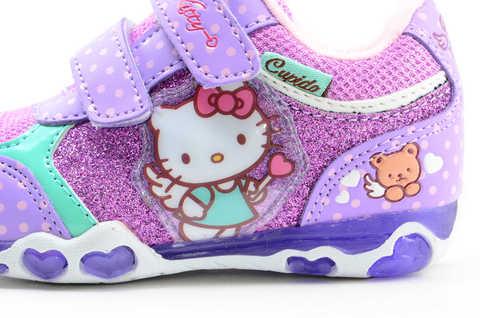 Светящиеся кроссовки для девочек Хелло Китти (Hello Kitty) на липучках, цвет сиреневый, мигает картинка сбоку. Изображение 11 из 12.