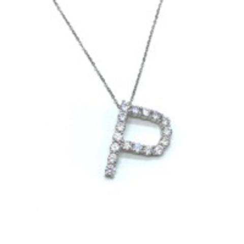 Подвеска из серебра с цирконами буква P