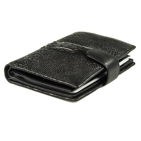 Стильное мужское чёрное портмоне книжка 14х10 см с отделением для авто документов из натуральной кожи под рептилию с головой крокодила Dublecity 121-DC001-07A в подарочной коробке