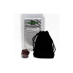 Blackfire Dice - D20 Metal Spindown with velvet bag - Black