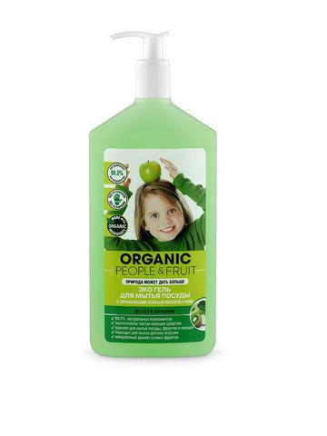 Organic PEOPLE, Эко гель для мытья посуды с органическими зеленым яблоком и киви, 500мл