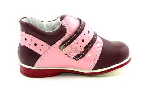 Ботинки Лель для девочек кожаные, демисезонные, ортопедические, на липучках, цвет бордо. Изображение 4 из 13.