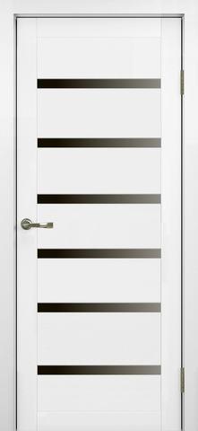 > Экошпон Optima Porte Турин 507.12, стекло лакобель чёрное, цвет белый монохром, остекленная