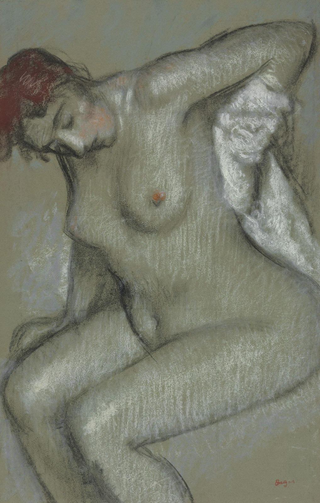 Эдгар Дега. 1895. Вытирающаяся обнаженная (Femme nue s'essuyant). 49.8 x 32.1. Тонированная бумага, пастель и уголь. Частное собрание.