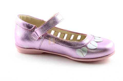 Туфли для девочек кожаные на липучке Тотто, цвет розовый металлик, 10210A. Изображение 2 из 12.