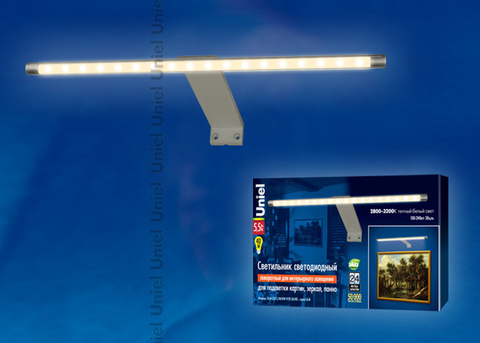 ULM-F32-5,5W/WW IP20 SILVER Светильник светодиодный поворотный для интерьерного освещения. В комплекте с адаптером. Длина 32,5 см. Материал корпуса алюминий, цвет серебро. Теплый белый свет. Упаковка-картонная коробка.