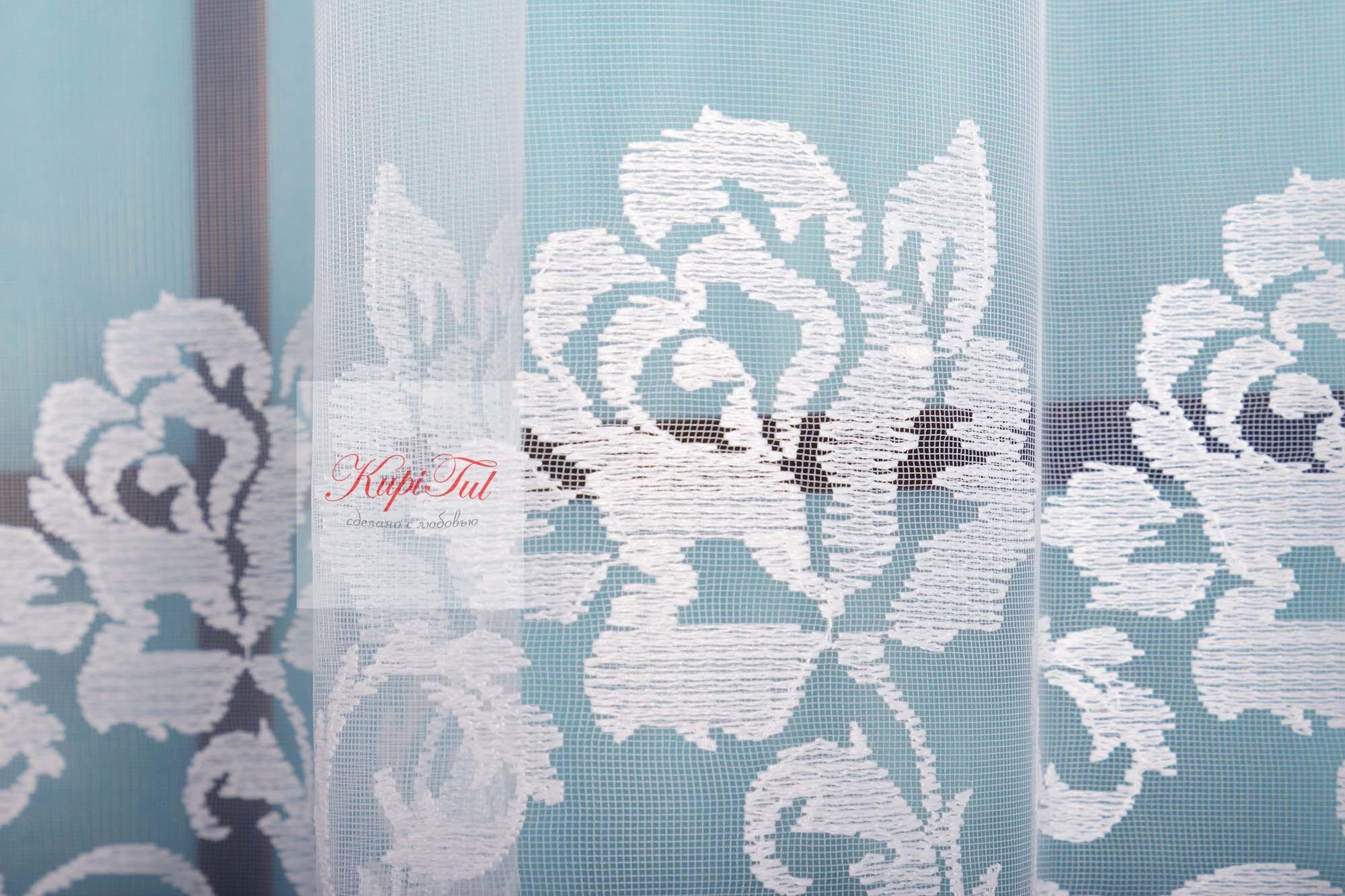 Микросетка с матовой вышивкой Мери (белая)