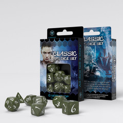 Classic RPG Olive & white Dice Set (7)