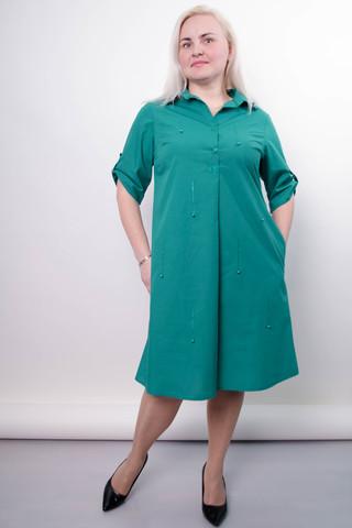 Пальмира. Стильное платье-рубашка plus size. Бирюза.