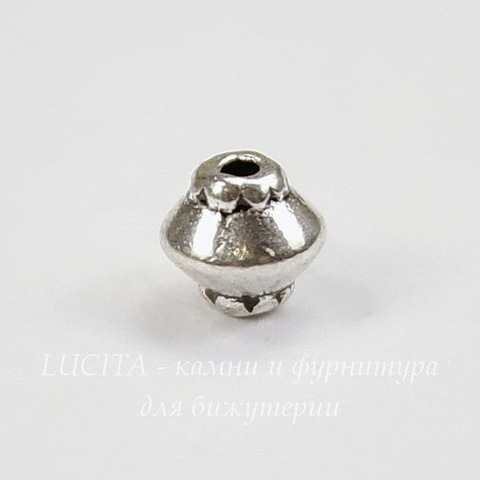 Бусина металлическая - биконус 5 мм (цвет - античное серебро), 10 штук