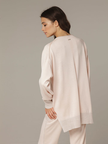 Розовый джемпер из шёлка и кашемира, с квадратной линией проймы - фото 4
