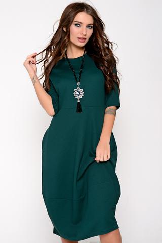 """Это платье - самый простой способ изменить свои образ и настроение! Платье отрезное по талии и юбкой """"баллон"""" с карманами. По спинке замок.  (Длина: 44-106см; 46-107см; 48-108см; 50-109 см) Украшение в стоимость не входит."""