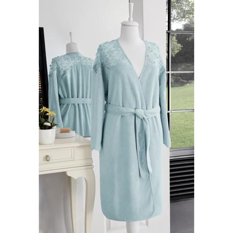 ROSELLA бирюзовый махровый женский халат Soft Cotton (Турция)