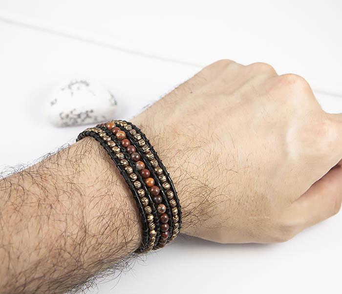 BS813 Необычный широкий браслет из яшмы и металла фото 10