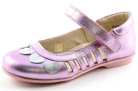 Туфли для девочек кожаные на липучке Тотто, цвет розовый металлик, 10210A. Изображение 1 из 12.