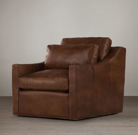 Belgian Classic Slope Arm Leather Chair