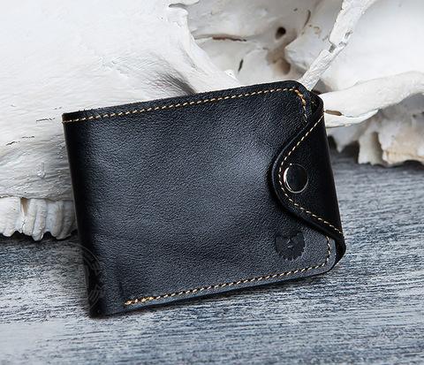 WB128-3 Черный мужской кошелек из натуральной кожи на застежке.