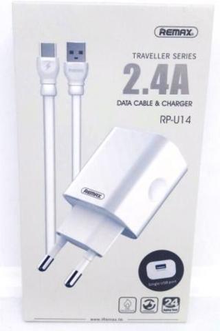 Адаптер ReMax  RP-U14+кабель Type-C 220/USB 2.4A