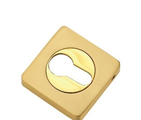 Фурнитура - Накладка На Цилиндр квадратная TIXX КВ ET 05, цвет латунь матовая/латунь блестящая