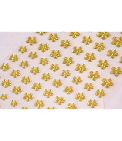 Стразы самоклеющиеся цветочки разного размера 78 шт светло-салатовые