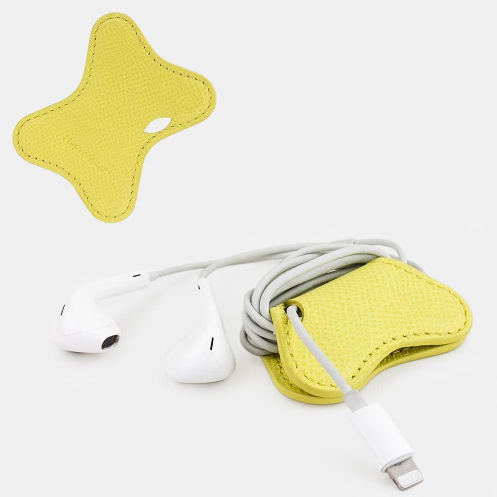 Чехол-держатель для наушников Papillon Easy из натуральной кожи теленка, желтого цвета
