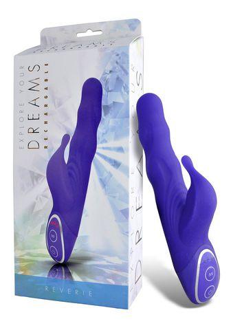 Фиолетовый вибромассажер с клиторальным стимулятором - 19 см.