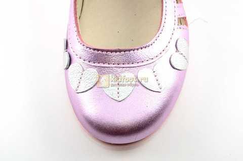 Туфли для девочек кожаные на липучке Тотто, цвет розовый металлик, 10210A. Изображение 10 из 12.
