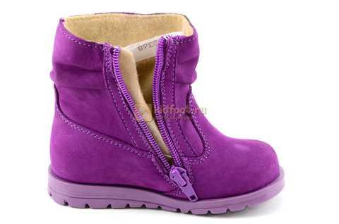 Полусапожки демисезонные Тотто из натуральной кожи на байке для девочек, цвет фиолетовый. Изображение 13 из 13.