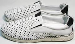 Белые спортивные туфли слипоны мужские кожаные с перфорацией Ridge Z-441 White Black.