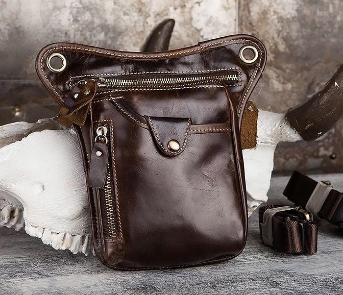 BAG436-2 Крутая набедренная сумка из натуральной кожи фото 01