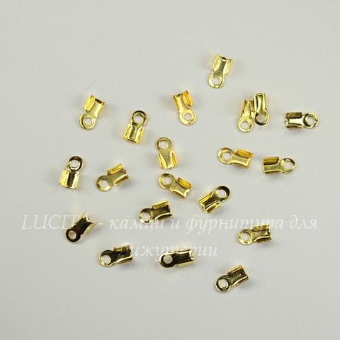 Концевик для шнура 2 мм (цвет - золото) 6х3 мм, 20 штук