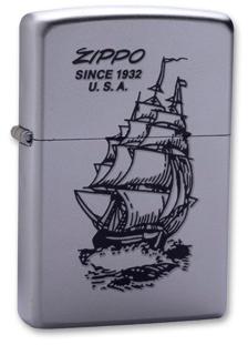 Зажигалка ZIPPO Classic Satin Chrome™ с изображением корабля с надписью Zippo since 1932 U.S.A  ZP-205Boat-Zippo