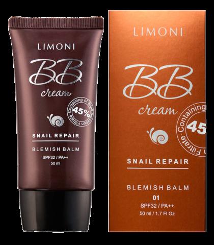 Крем для лица маскирующий Limoni Snail Repair BB Cream, тон 02, 50 мл.