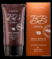Limoni Крем для лица маскирующий Snail Repair BB Cream тон 02 50 мл