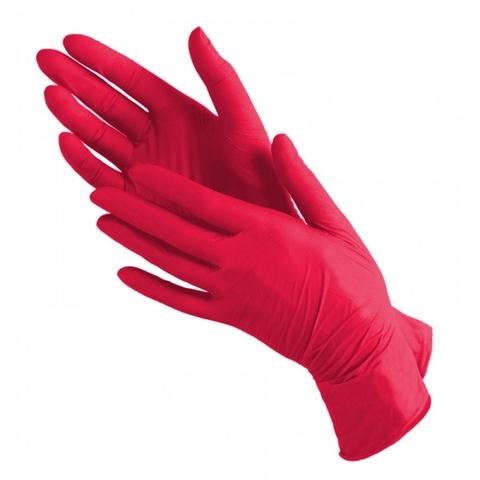 Перчатки нитриловые Красные р. L (100 штук - 50 пар)